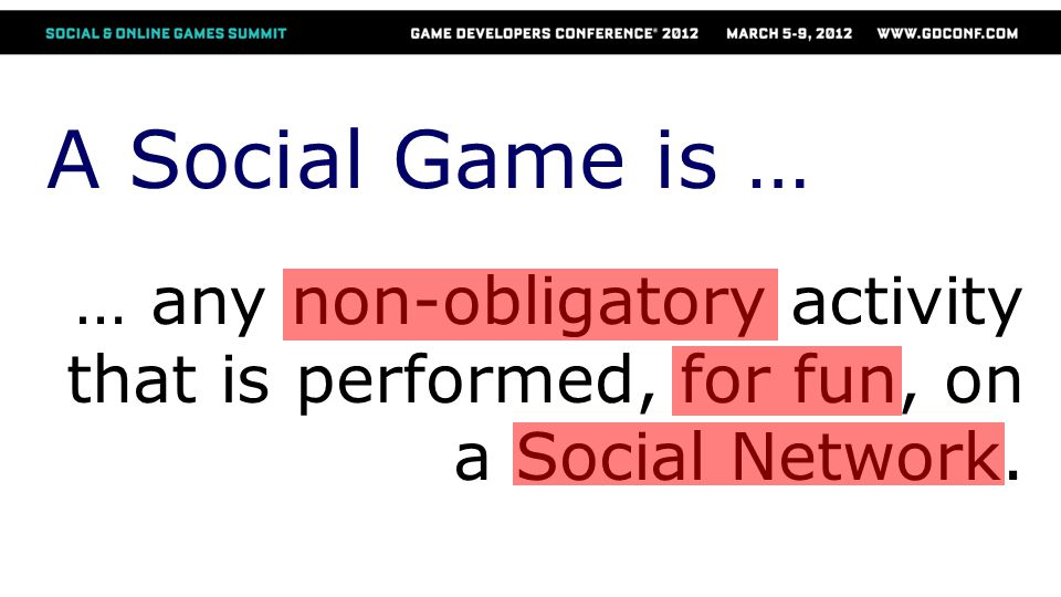 A Social Game is … … any non-obligatory activity that is performed, for fun, on a Social Network.