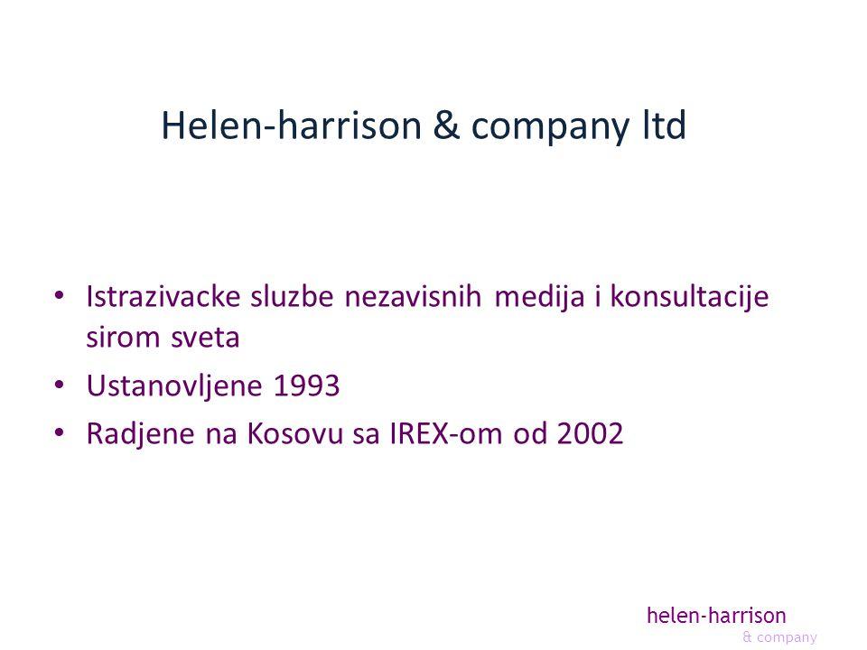 helen-harrison & company Helen-harrison & company ltd Istrazivacke sluzbe nezavisnih medija i konsultacije sirom sveta Ustanovljene 1993 Radjene na Kosovu sa IREX-om od 2002