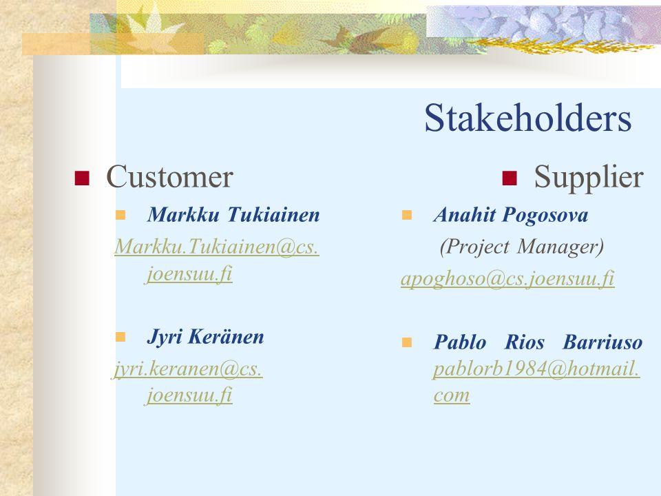 Stakeholders Customer Markku Tukiainen Markku.Tukiainen@cs.