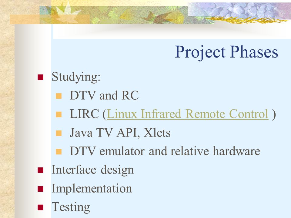 Project Phases Studying: DTV and RC LIRC (Linux Infrared Remote Control )Linux Infrared Remote Control Java TV API, Xlets DTV emulator and relative hardware Interface design Implementation Testing