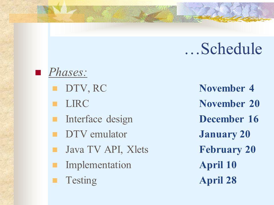 …Schedule Phases: DTV, RC November 4 LIRC November 20 Interface design December 16 DTV emulator January 20 Java TV API, Xlets February 20 Implementation April 10 TestingApril 28