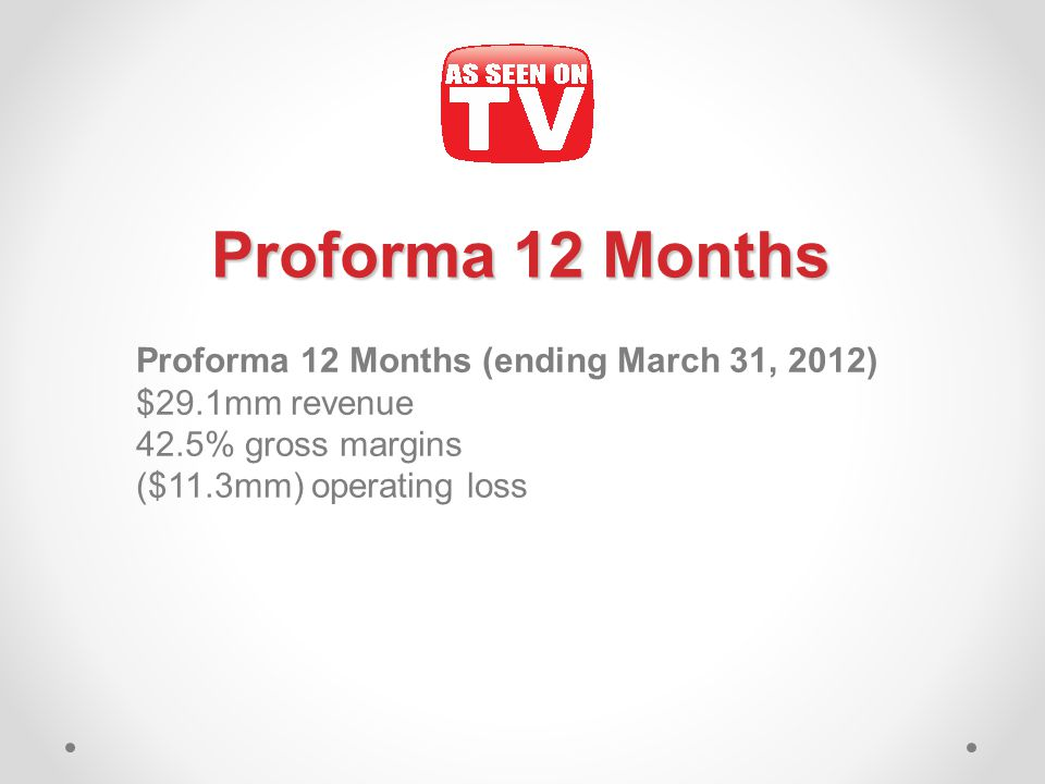 Proforma 12 Months Proforma 12 Months (ending March 31, 2012) $29.1mm revenue 42.5% gross margins ($11.3mm) operating loss