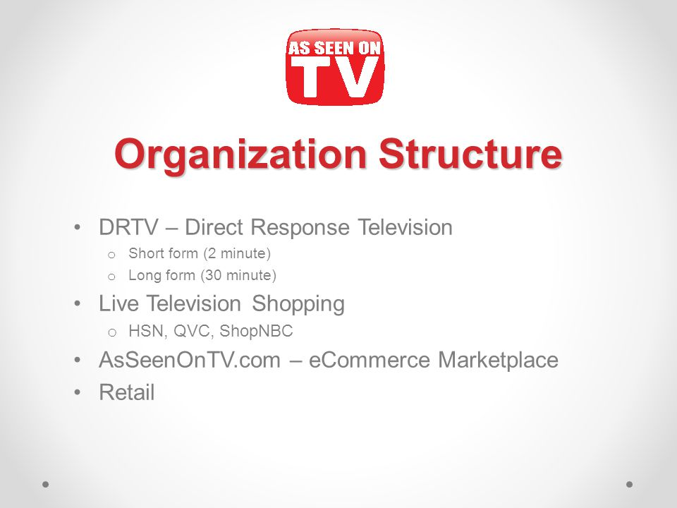 Organization Structure DRTV – Direct Response Television o Short form (2 minute) o Long form (30 minute) Live Television Shopping o HSN, QVC, ShopNBC AsSeenOnTV.com – eCommerce Marketplace Retail