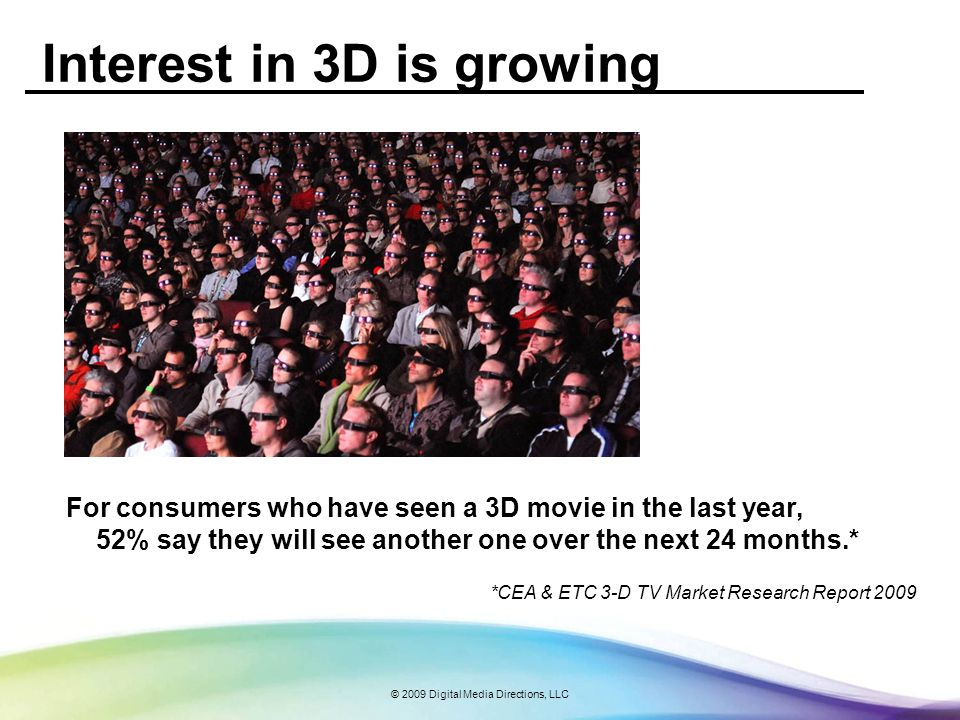 © 2009 Digital Media Directions, LLC Interest in 3D is growing For consumers who have seen a 3D movie in the last year, 52% say they will see another