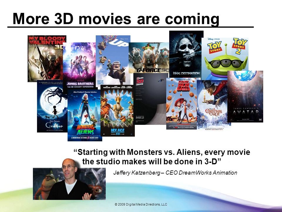 © 2009 Digital Media Directions, LLC Studio want to bring 3D movies to the home Jim Williams, MPAA CTO, Digital Future Symposium Paper, November 2007 - Not enough 3D digital cinemas - Short theatrical distribution windows - Theatrical generates small portion of a movies total revenue Major Studio Movie Sources of Revenue
