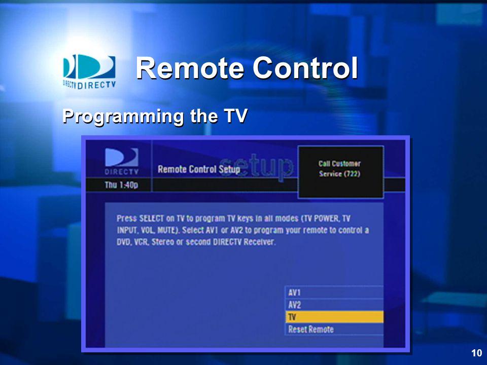 10 Remote Control Programming the TV