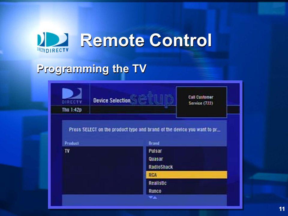 11 Remote Control Programming the TV