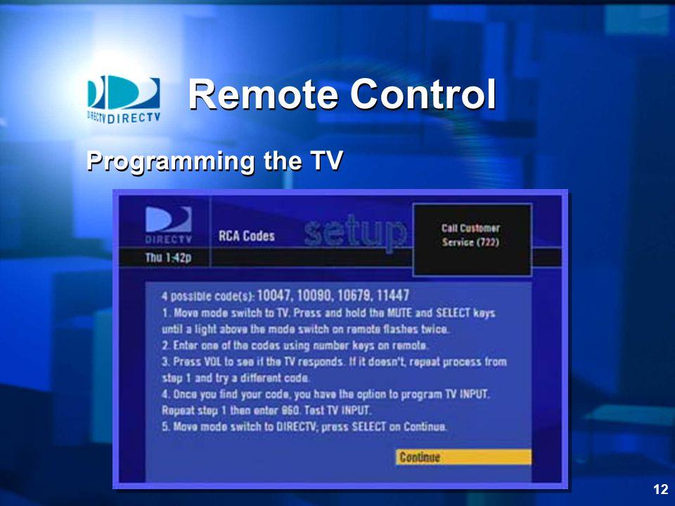12 Remote Control Programming the TV