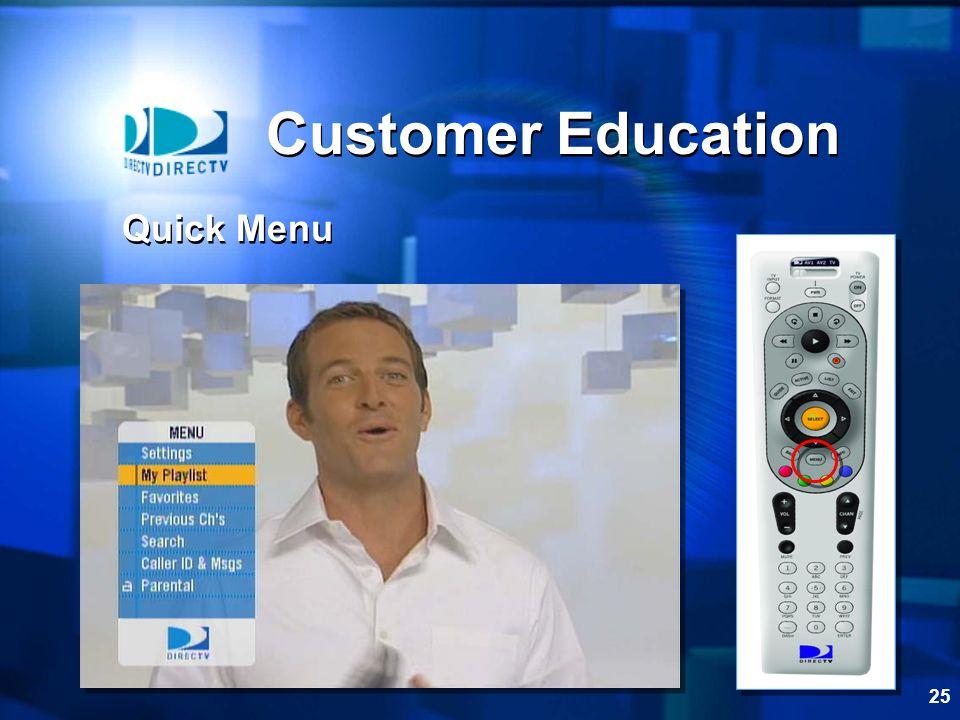25 Customer Education Quick Menu