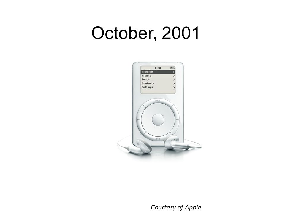 October, 2001 Courtesy of Apple