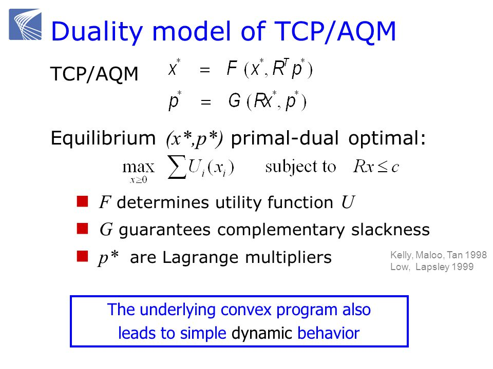 Duality model of TCP/AQM TCP/AQM Equilibrium (x*,p*) primal-dual optimal: F determines utility function U G guarantees complementary slackness p* are