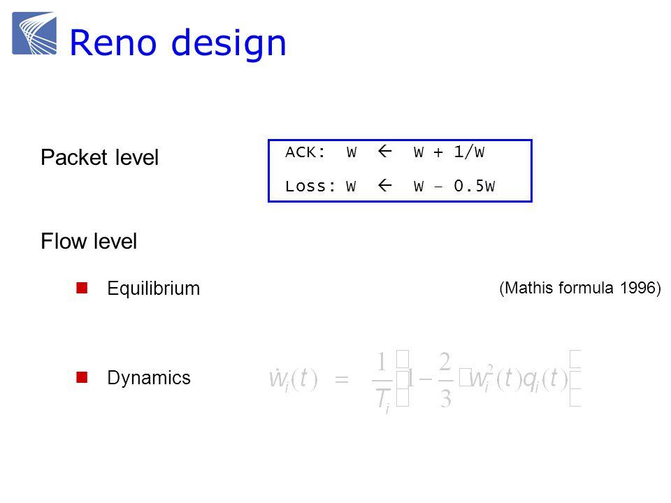ACK: W W + 1/W Loss: W W – 0.5W Packet level Reno TCP Flow level Equilibrium Dynamics pkts (Mathis formula 1996) Reno design