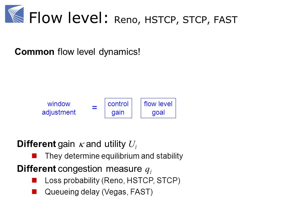 Flow level: Reno, HSTCP, STCP, FAST Different gain and utility U i They determine equilibrium and stability Different congestion measure q i Loss probability (Reno, HSTCP, STCP) Queueing delay (Vegas, FAST) Common flow level dynamics.