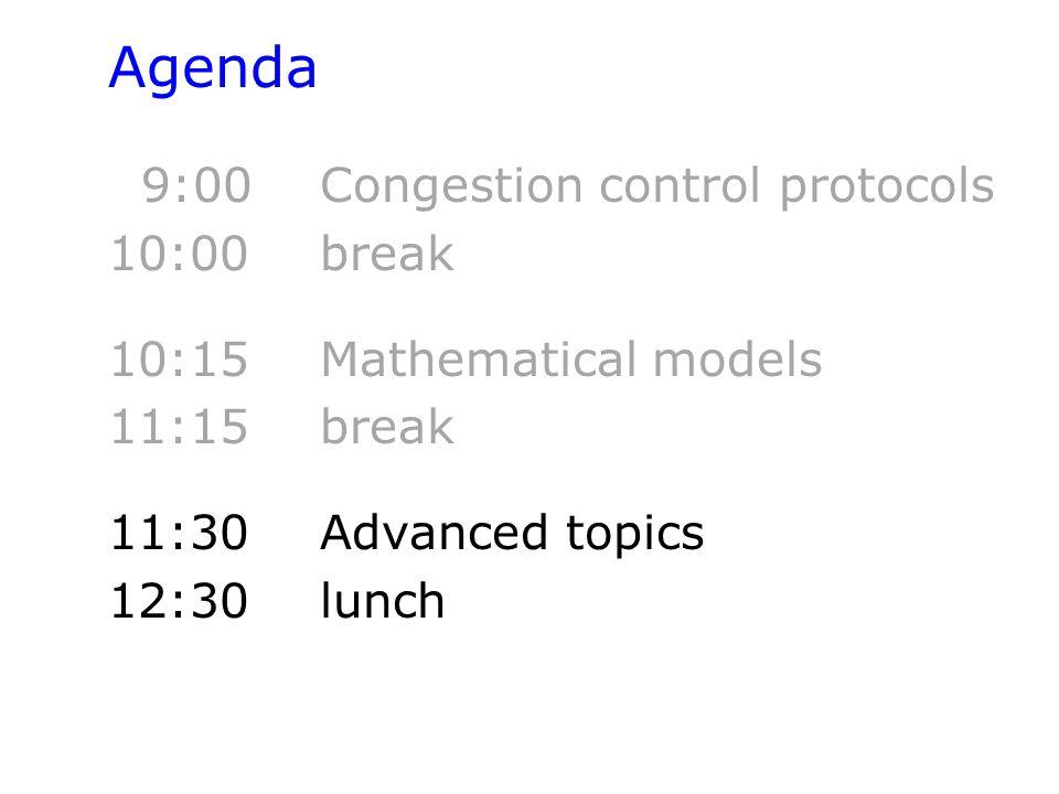 Agenda 9:00 Congestion control protocols 10:00 break 10:15 Mathematical models 11:15 break 11:30Advanced topics 12:30 lunch
