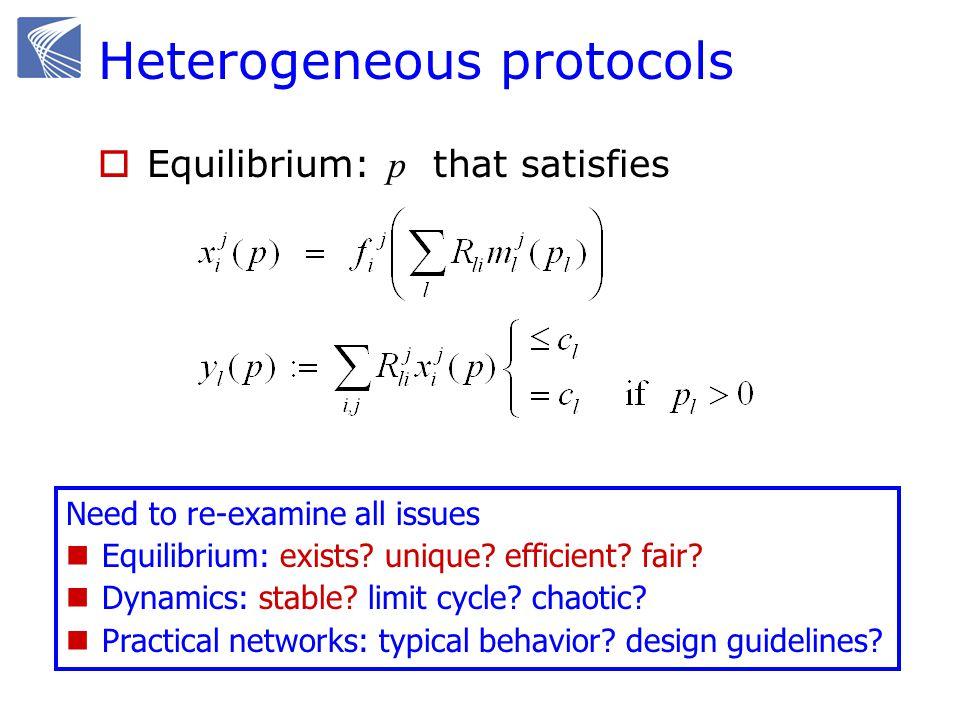 Heterogeneous protocols Equilibrium: p that satisfies Need to re-examine all issues Equilibrium: exists? unique? efficient? fair? Dynamics: stable? li
