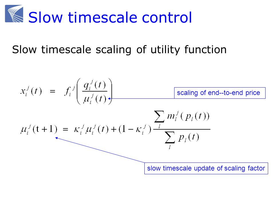 Slow timescale control Slow timescale scaling of utility function scaling of end--to-end price slow timescale update of scaling factor