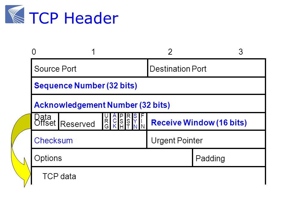 TCP Header Source PortDestination Port Sequence Number (32 bits) Checksum Options Padding Acknowledgement Number (32 bits) Urgent Pointer URGURG ACKAC