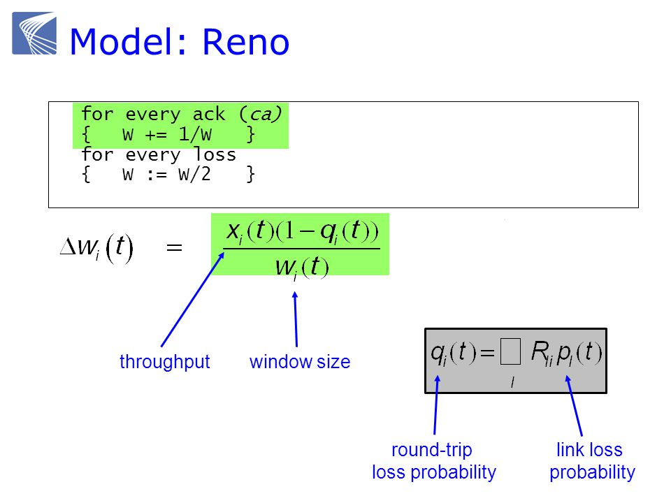 Model: Reno for every ack (ca) {W += 1/W } for every loss {W := W/2 } link loss probability round-trip loss probability window sizethroughput