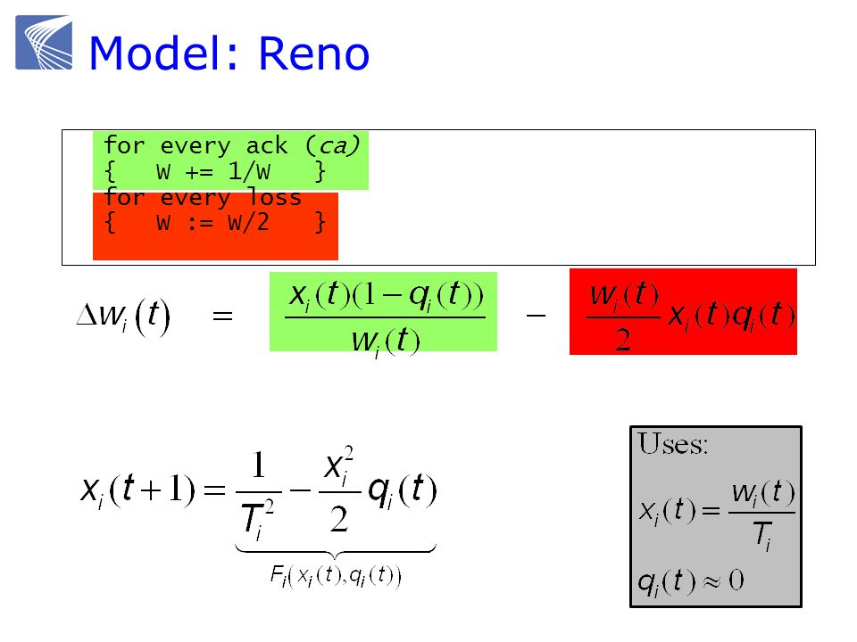Model: Reno for every ack (ca) {W += 1/W } for every loss {W := W/2 }