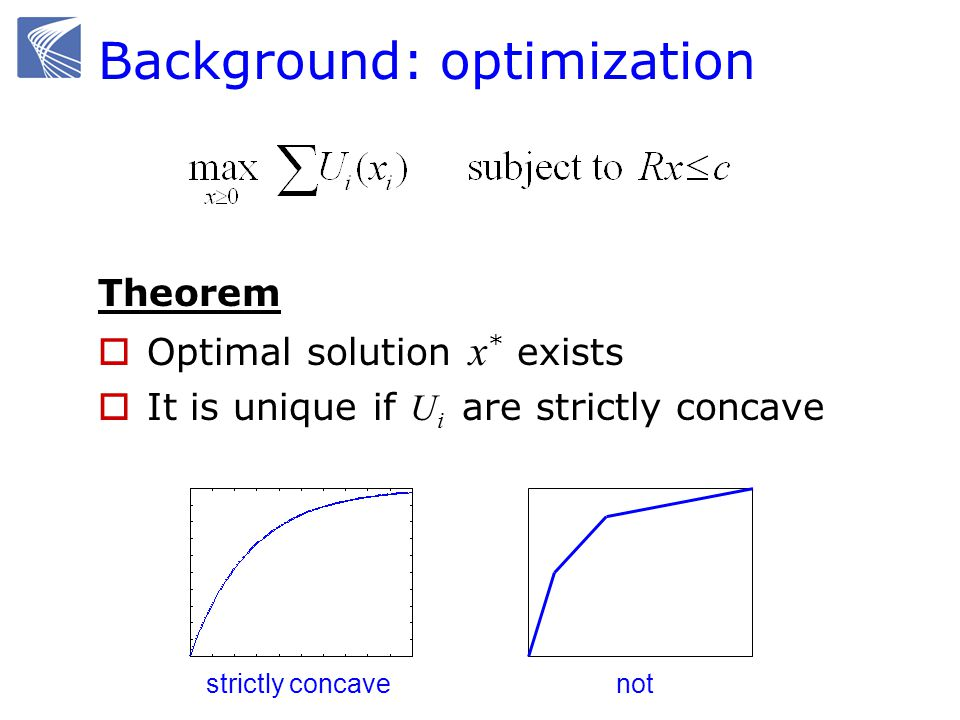 Background: optimization Theorem Optimal solution x * exists It is unique if U i are strictly concave strictly concave not