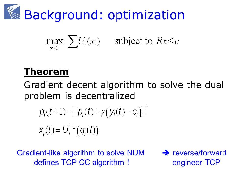 Background: optimization Theorem Gradient decent algorithm to solve the dual problem is decentralized Gradient-like algorithm to solve NUM defines TCP CC algorithm .
