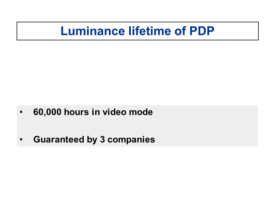 Luminance lifetime of PDP 60,000 hours in video mode Guaranteed by 3 companies