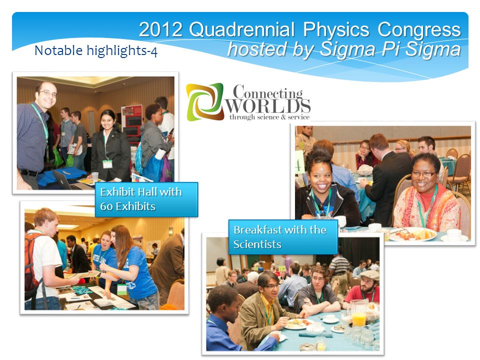 2012 Quadrennial Physics Congress hosted by Sigma Pi Sigma Breakfast with the Scientists Notable highlights-4 Exhibit Hall with 60 Exhibits