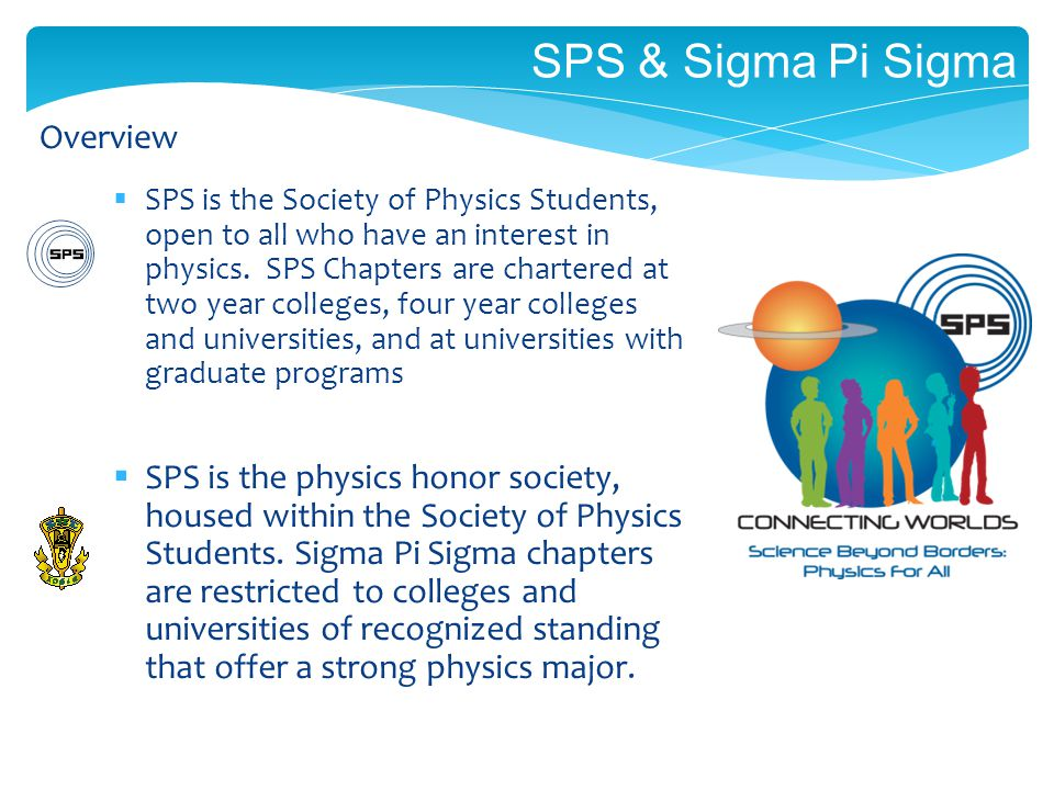 SPS & Sigma Pi Sigma SPS is the Society of Physics Students, open to all who have an interest in physics.