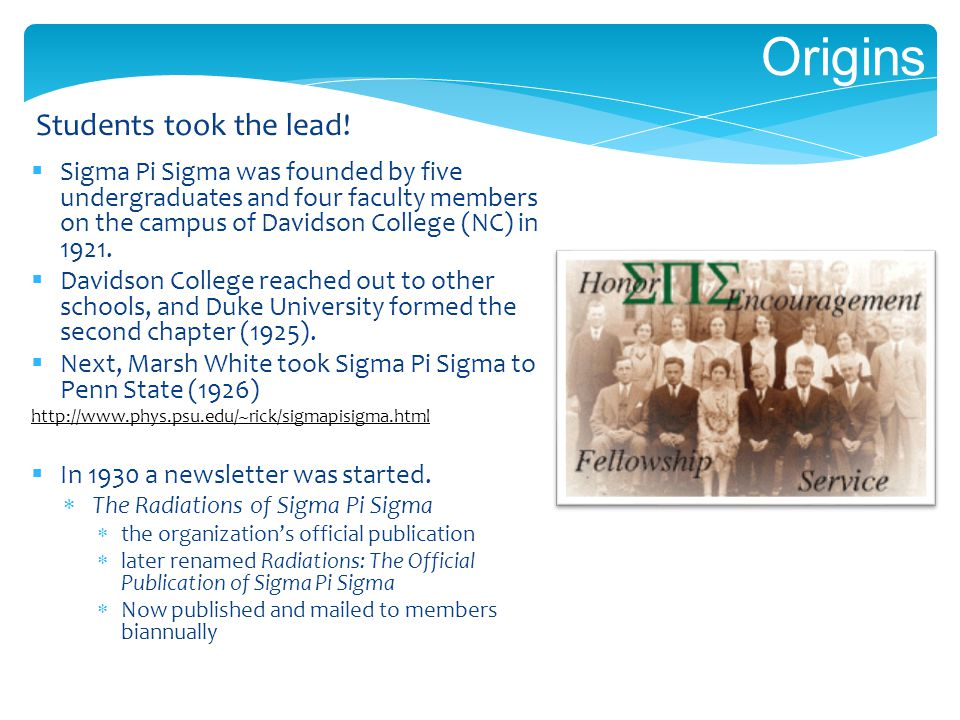 Origins Sigma Pi Sigma was founded by five undergraduates and four faculty members on the campus of Davidson College (NC) in 1921.
