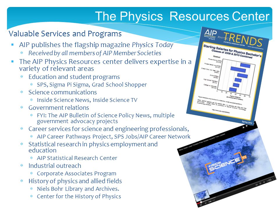 The Physics Resources Center AIP publishes the flagship magazine Physics Today Received by all members of AIP Member Societies The AIP Physics Resources center delivers expertise in a variety of relevant areas Education and student programs SPS, Sigma Pi Sigma, Grad School Shopper Science communications Inside Science News, Inside Science TV Government relations FYI: The AIP Bulletin of Science Policy News, multiple government advocacy projects Career services for science and engineering professionals, AIP Career Pathways Project, SPS Jobs/AIP Career Network Statistical research in physics employment and education AIP Statistical Research Center Industrial outreach Corporate Associates Program History of physics and allied fields Niels Bohr Library and Archives.