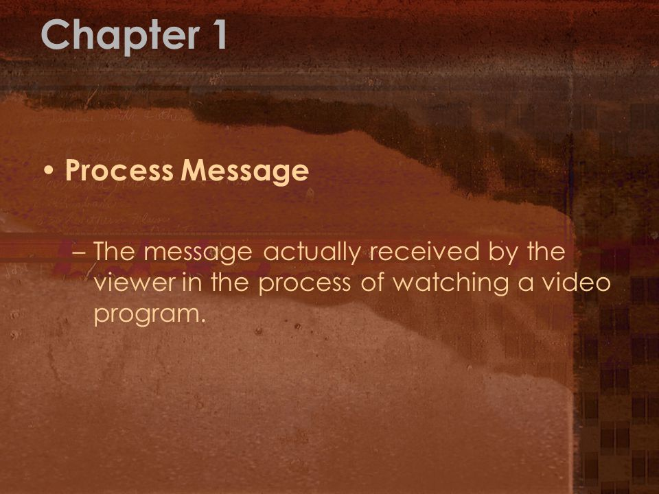 Chapter 1 Process Message –The message actually received by the viewer in the process of watching a video program.