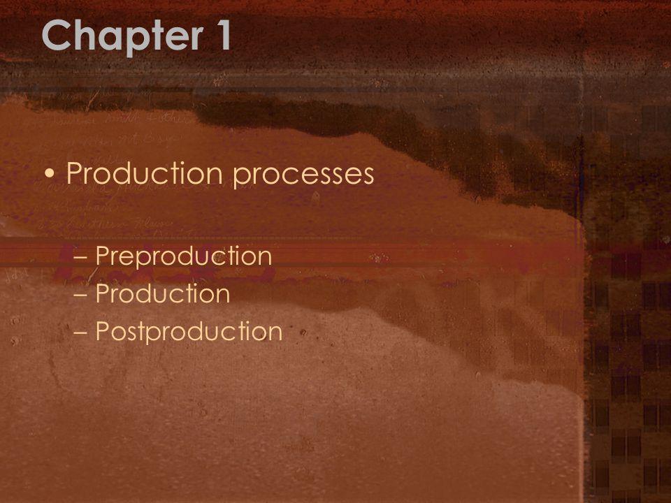 Chapter 1 Production processes –Preproduction –Production –Postproduction