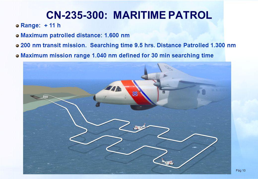 Pág 10 CN-235-300: MARITIME PATROL Range: + 11 h Maximum patrolled distance: 1.600 nm 200 nm transit mission. Searching time 9.5 hrs. Distance Patroll