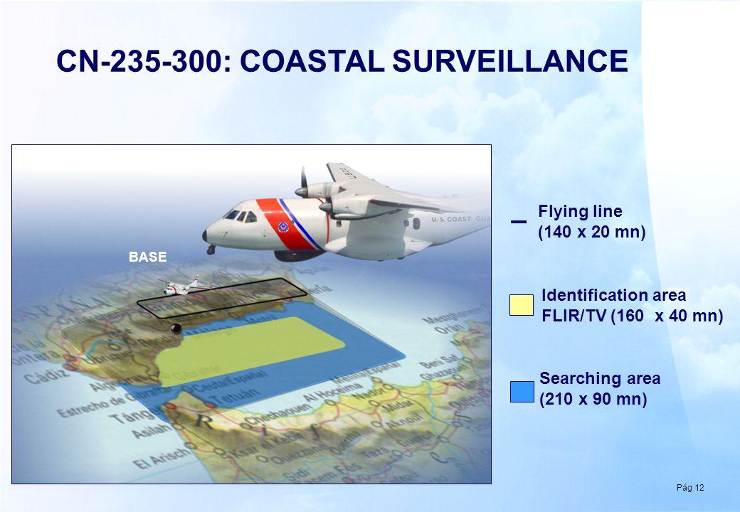 Pág 12 BASE CN-235-300: COASTAL SURVEILLANCE Flying line (140 x 20 mn) Identification area FLIR/TV (160 x 40 mn) Searching area (210 x 90 mn)