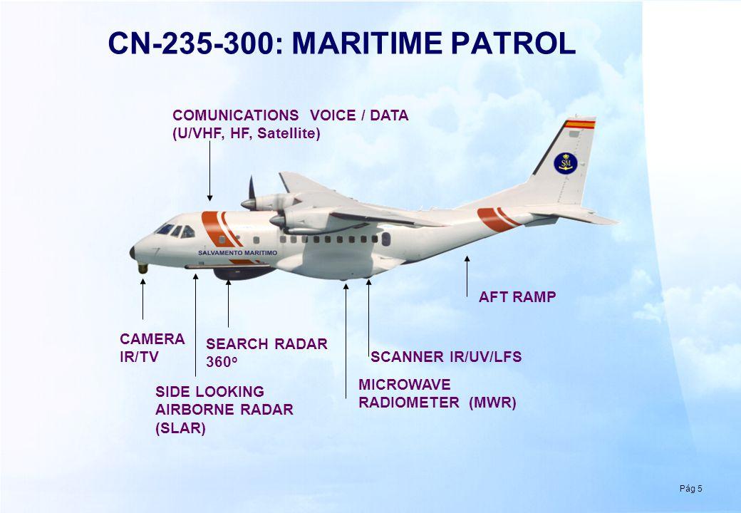 Pág 5 CN-235-300: MARITIME PATROL CAMERA IR/TV SEARCH RADAR 360 o COMUNICATIONS VOICE / DATA (U/VHF, HF, Satellite) AFT RAMP SIDE LOOKING AIRBORNE RAD