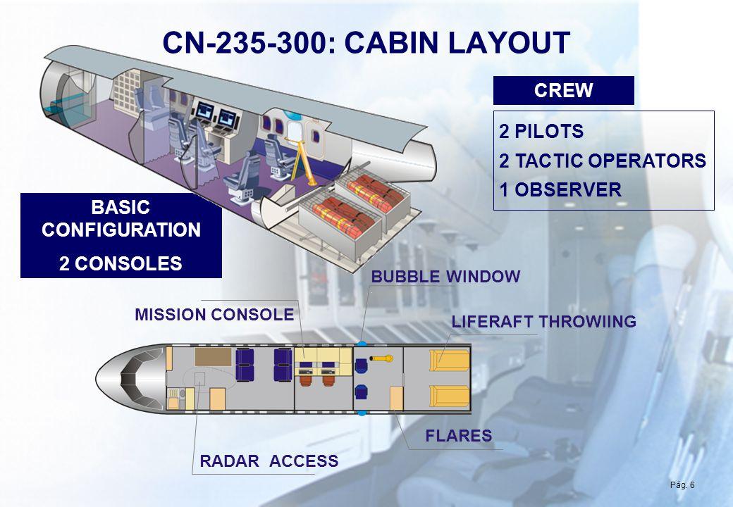 Pág 6 CN-235-300: CABIN LAYOUT BUBBLE WINDOW LIFERAFT THROWIING FLARES RADAR ACCESS MISSION CONSOLE Pág. 6 2 PILOTS 2 TACTIC OPERATORS 1 OBSERVER CREW