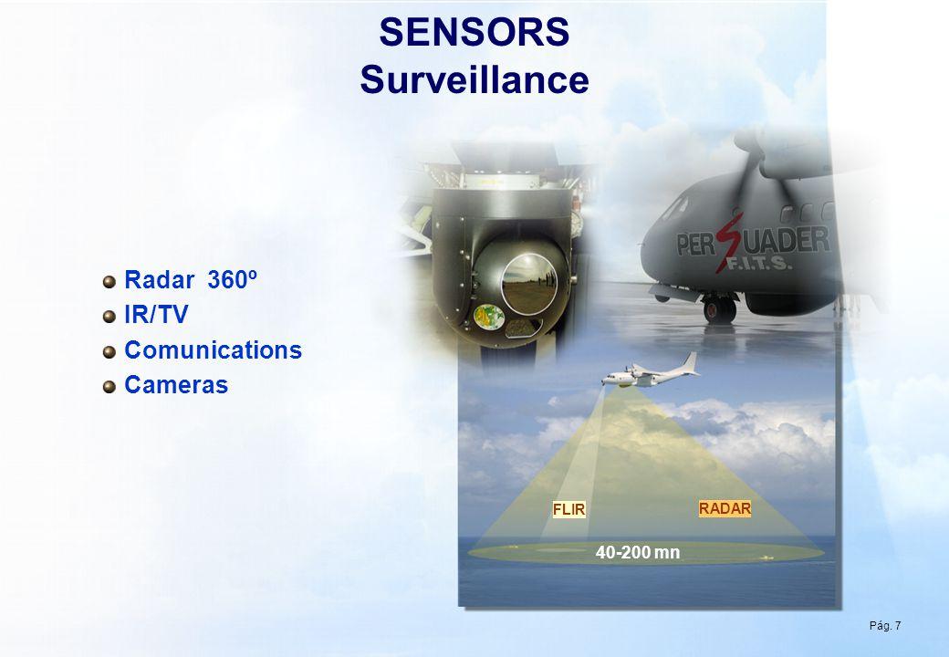 Pág 7 SENSORS Surveillance RADAR 40-200 mn Radar 360º IR/TV Comunications Cameras FLIR Pág. 7