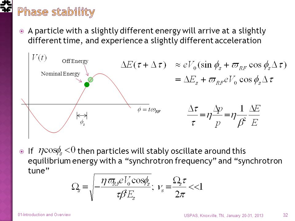 A particle with a slightly different energy will arrive at a slightly different time, and experience a slightly different acceleration If then particles will stably oscillate around this equilibrium energy with a synchrotron frequency and synchrotron tune USPAS, Knoxville, TN, January 20-31, 2013 01-Introduction and Overview 32 Nominal Energy Off Energy
