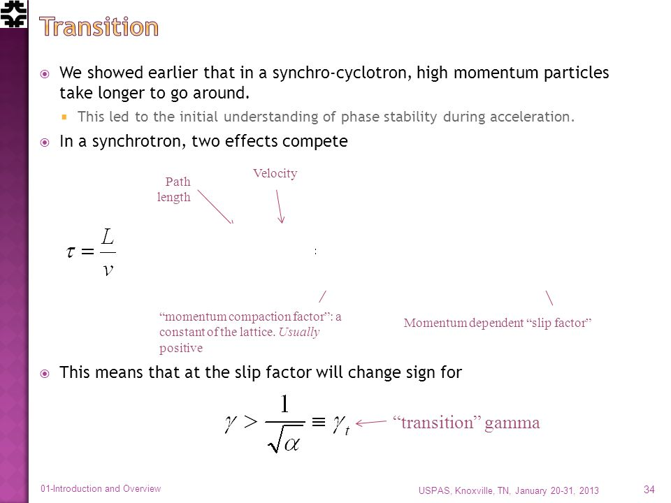 We showed earlier that in a synchro-cyclotron, high momentum particles take longer to go around.