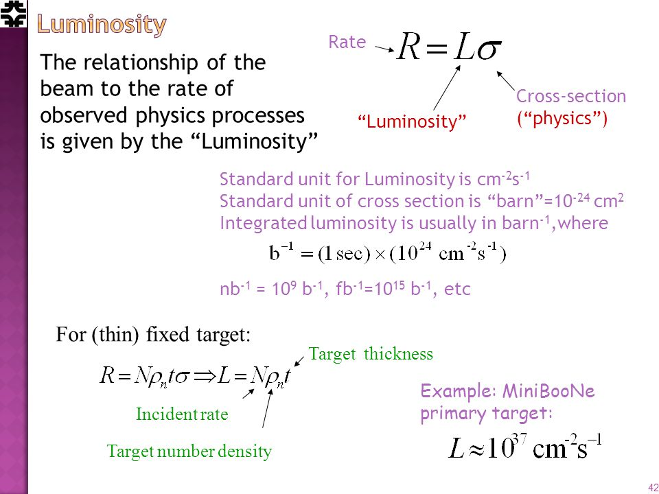The relationship of the beam to the rate of observed physics processes is given by the Luminosity Rate Cross-section (physics) Luminosity Standard unit for Luminosity is cm -2 s -1 Standard unit of cross section is barn=10 -24 cm 2 Integrated luminosity is usually in barn -1,where nb -1 = 10 9 b -1, fb -1 =10 15 b -1, etc Incident rate Target number density Target thickness Example: MiniBooNe primary target: 42 For (thin) fixed target: