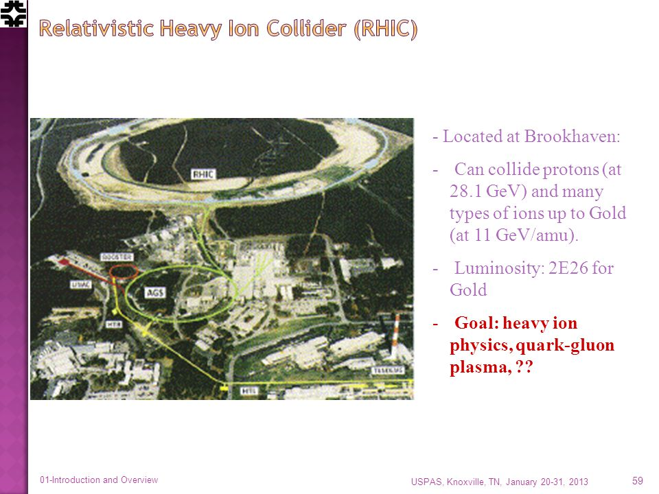 - Located at Brookhaven: - Can collide protons (at 28.1 GeV) and many types of ions up to Gold (at 11 GeV/amu).