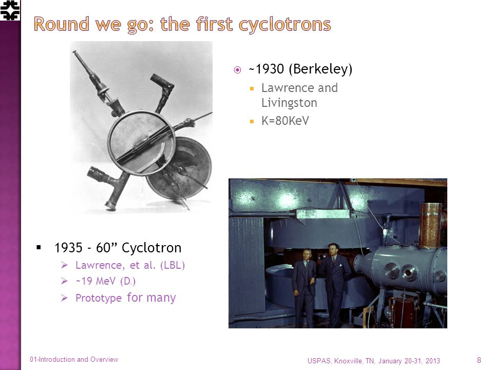 ~1930 (Berkeley) Lawrence and Livingston K=80KeV 1935 - 60 Cyclotron Lawrence, et al.