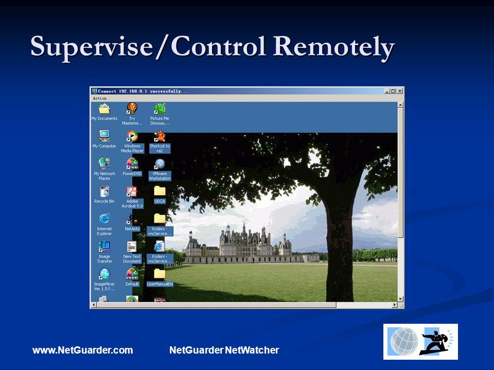 www.NetGuarder.comNetGuarder NetWatcher Supervise/Control Remotely