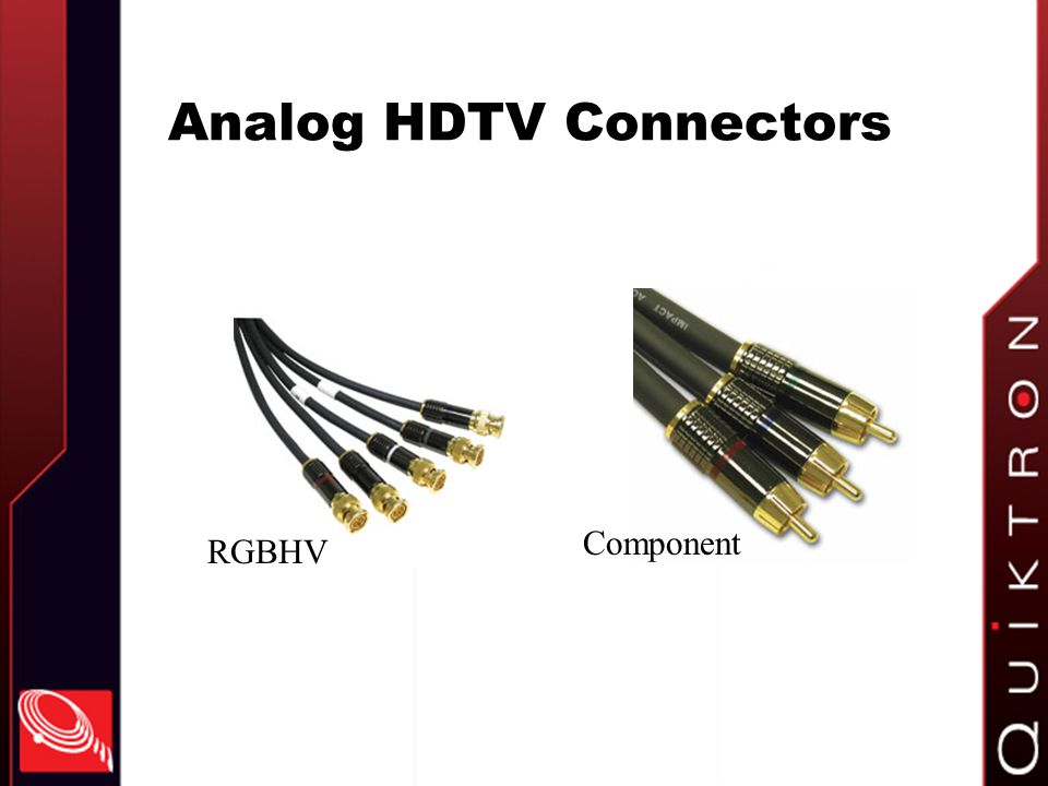 Analog HDTV Connectors RGBHV Component
