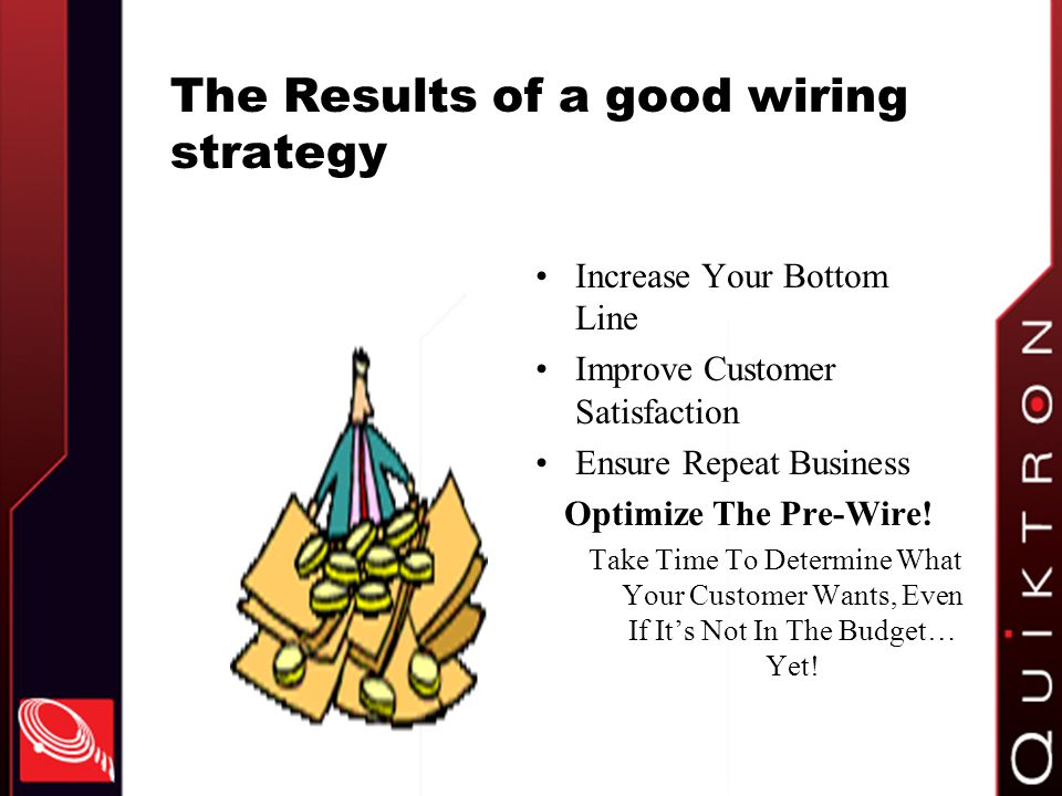 The Results of a good wiring strategy Increase Your Bottom Line Improve Customer Satisfaction Ensure Repeat Business Optimize The Pre-Wire.