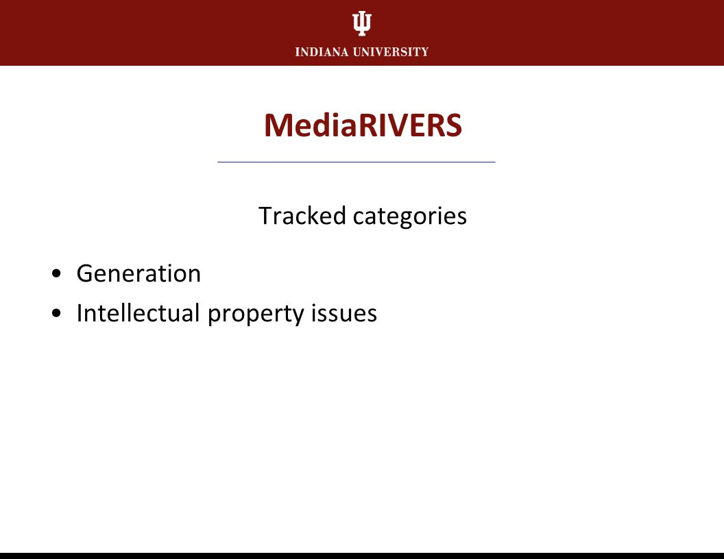 MediaRIVERS Scored categories Subject interest Content quality Rareness Documentation Technical quality