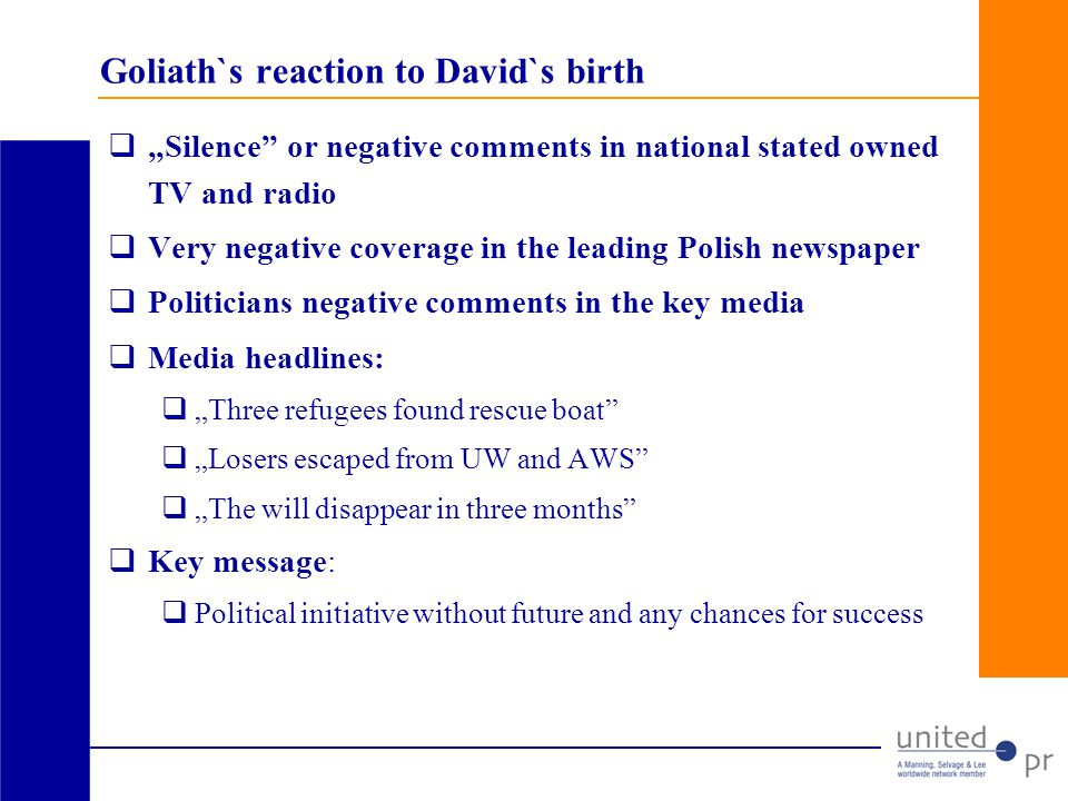 Goliath`s reaction to David`s birth Silence or negative comments in national stated owned TV and radio Very negative coverage in the leading Polish newspaper Politicians negative comments in the key media Media headlines: Three refugees found rescue boat Losers escaped from UW and AWS The will disappear in three months Key message: Political initiative without future and any chances for success