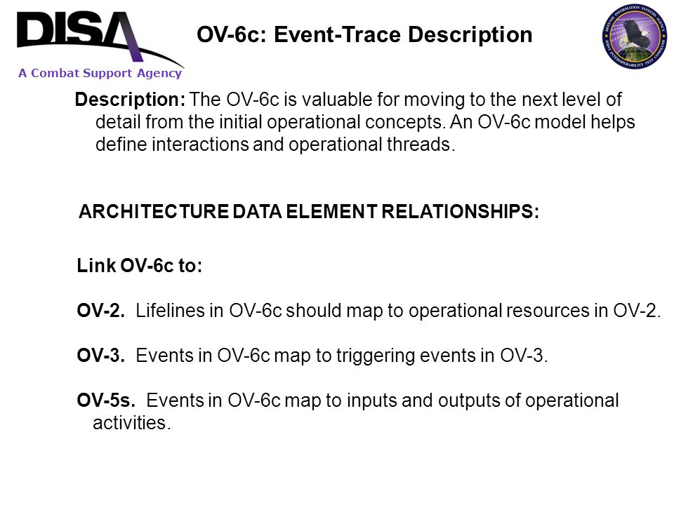 A Combat Support Agency Description: The OV-6c is valuable for moving to the next level of detail from the initial operational concepts. An OV-6c mode