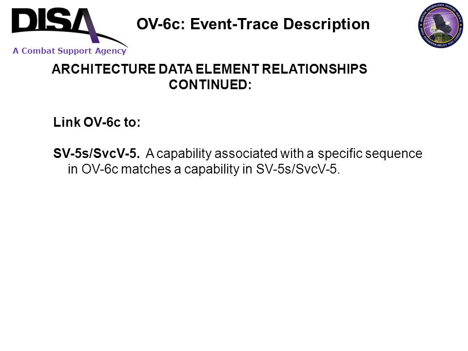 A Combat Support Agency ARCHITECTURE DATA ELEMENT RELATIONSHIPS CONTINUED: Link OV-6c to: SV-5s/SvcV-5. A capability associated with a specific sequen