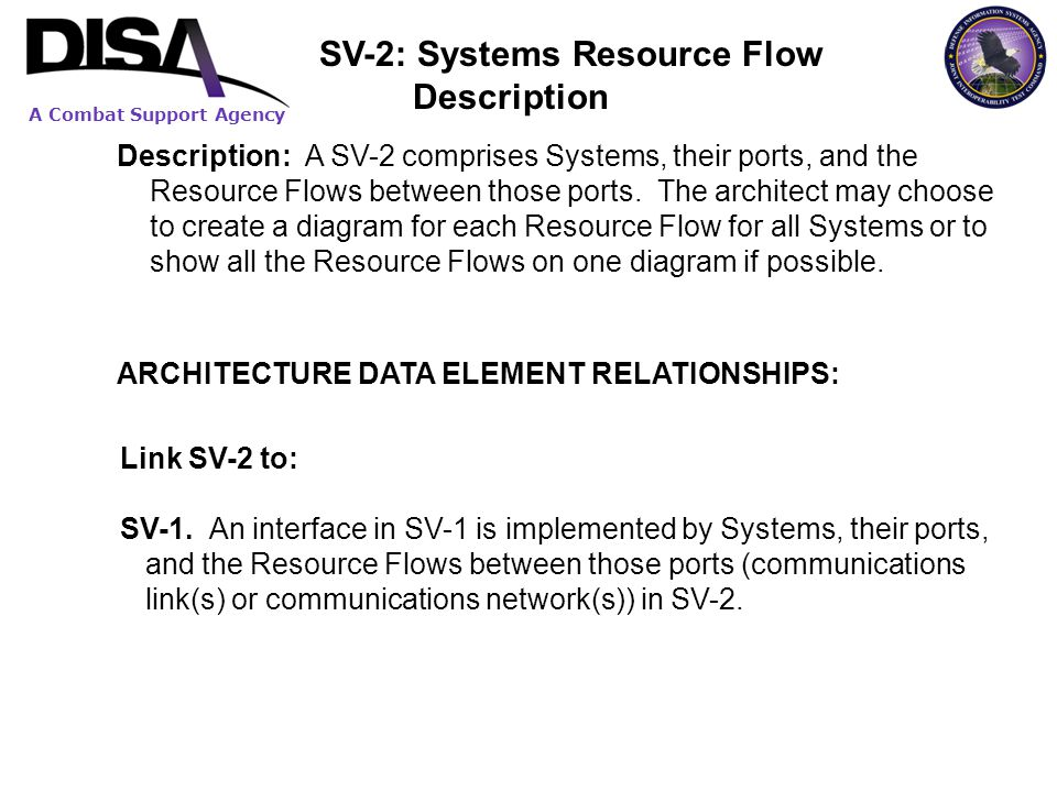 A Combat Support Agency Description: A SV-2 comprises Systems, their ports, and the Resource Flows between those ports. The architect may choose to cr